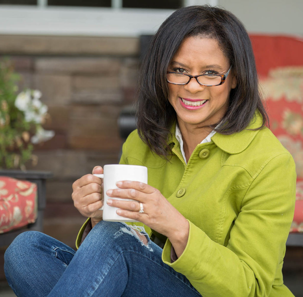 Sheila Qualls - Smiling with Cup of Coffee - Smaller Preview
